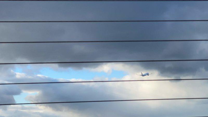 飛び立つ飛行機を見送る