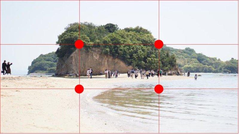 上手く撮影するポイント1:構図A 赤線付き