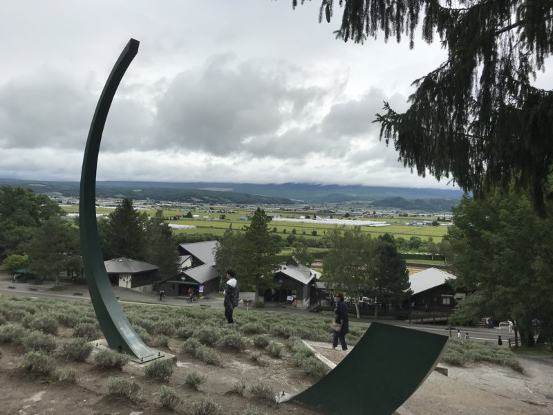 富田ファームのオブジェから覗く十勝岳