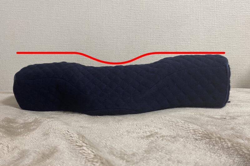 中央が凹んで、両肩部分が少し高い形状。横向き寝もOK